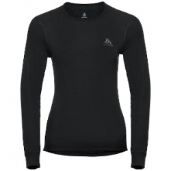 W Shirt Ls Crew Neck Warm - Black