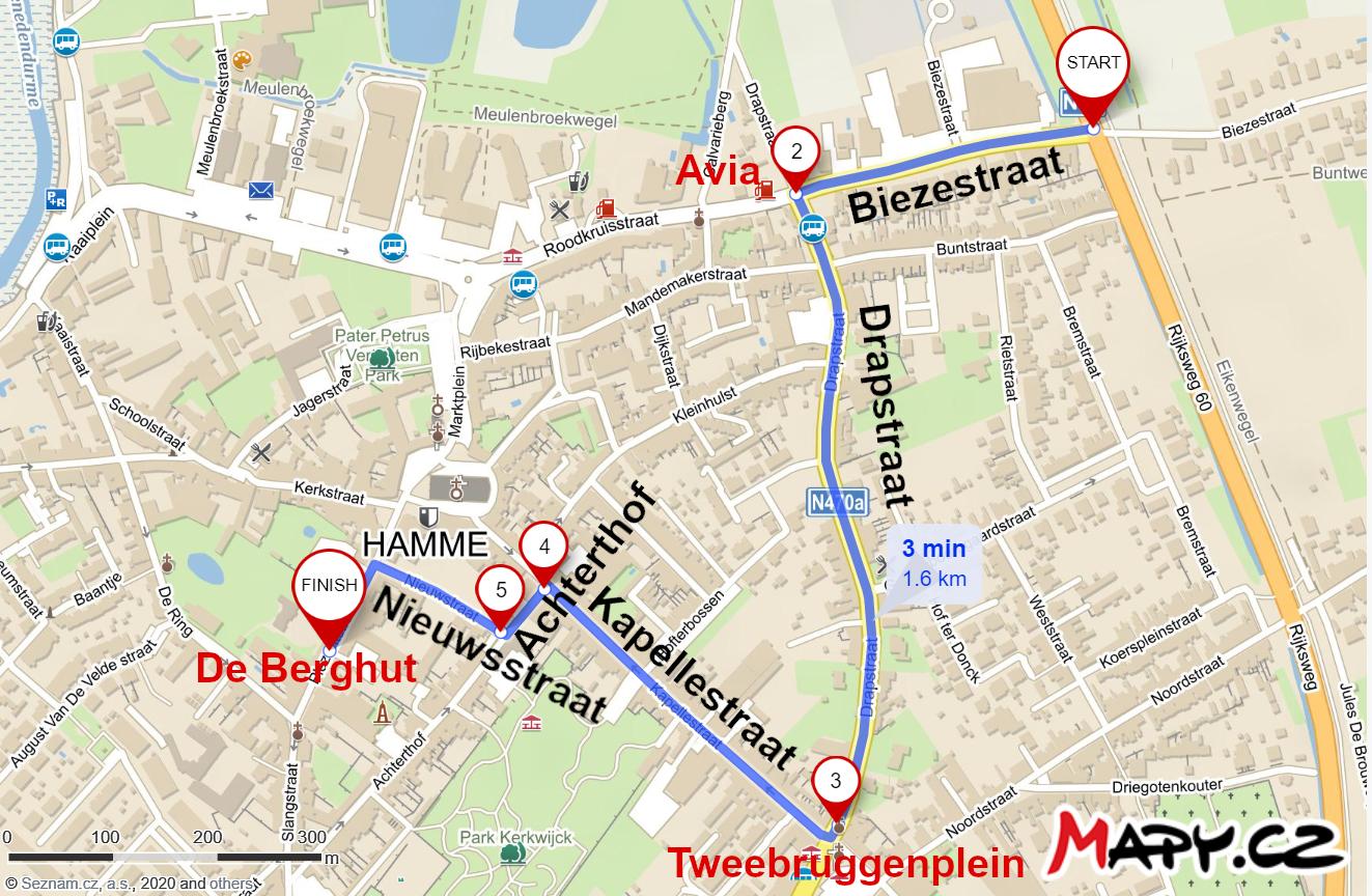 Route tijdens werken